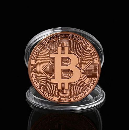 Moneda conmemorativa bitcoin color bronce - colección.