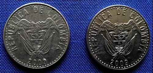 Monedas de 50 pesos 2009 colombia escasas,2 uds(l 24