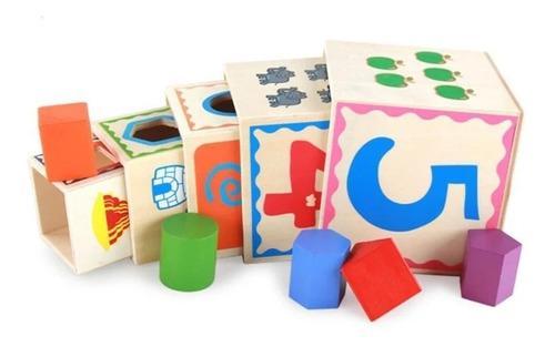 Cubos Encajables Juegos Didácticos Niños Madera Montessori