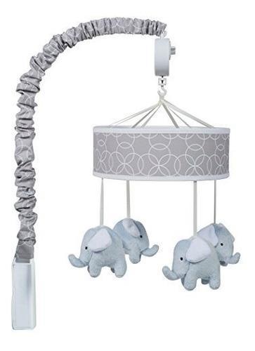 Movil cuna bebe elefantes trend lab gris y blanco círculos
