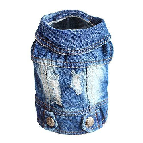 Ropa Para Perro Sild Chaqueta Vintage De Jean Azul Talla:m
