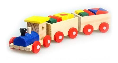 Tren madera figuras juegos didácticos niños montessori