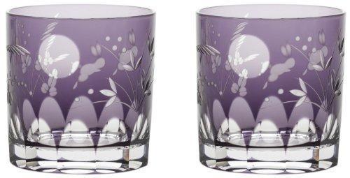 Edo kiriko glass japanese old pair 63oz luna y conejos juego