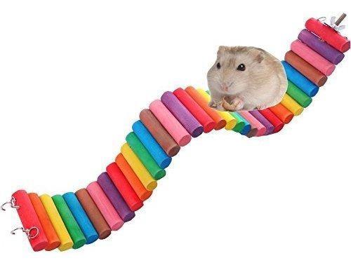Fashionclubs pet hamster colorful wooden suspension flexible