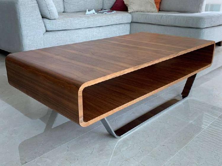 Mesa centro de madera y cromo