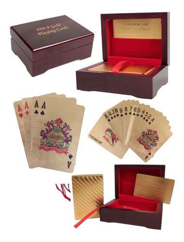 Baraja de naipes cartas dorado poker de lujo caja de madera