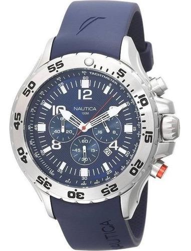 Reloj hombre nautica nst n14555g correa de silicona azul