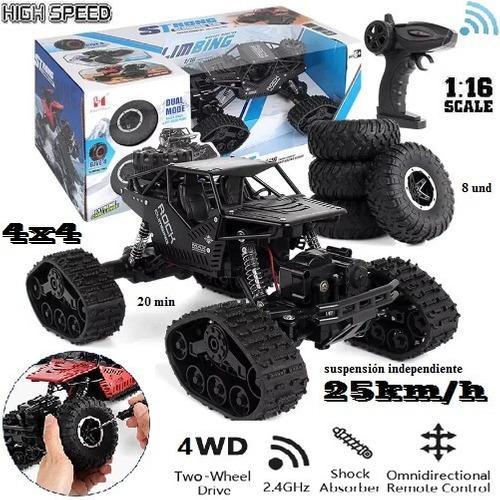 Carro crawler rc oruga 4x4 todo terreno 1.16 25 km/h 20 minu