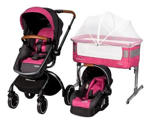 Combo coche moises silla carro 360º + colecho bebesit rosa