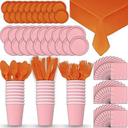 Papel conjunto vajilla 24 - rosa claro naranja - platos pos