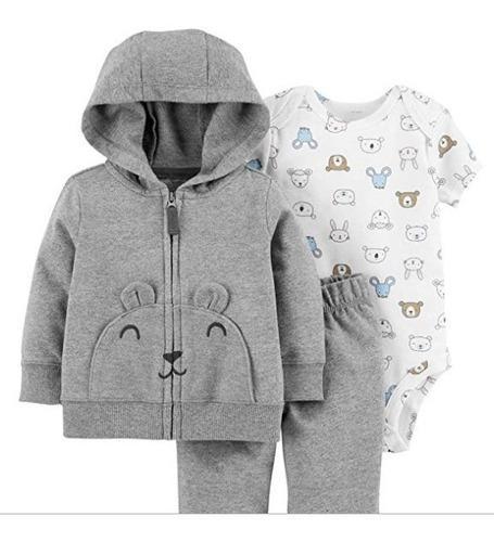 Carters set ropa para bebe 3 pcs oso gris entrega ya