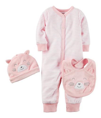 Conjunto pijama carters niña con gorro 3 piezas 6 y 9 meses