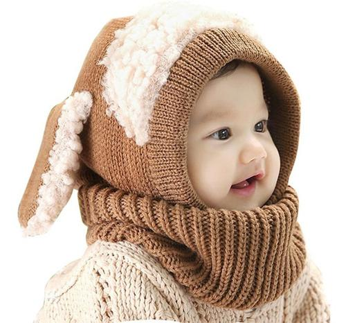 Gorro bufanda bebe niño niña orejas conejito frio unisex