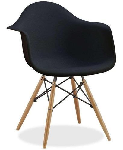 Silla de restaurante de madera eames negra compacta comoda