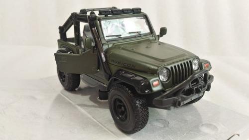 Jeep wrangler rubicon verde, escala 1'43, 11cms largo, metal