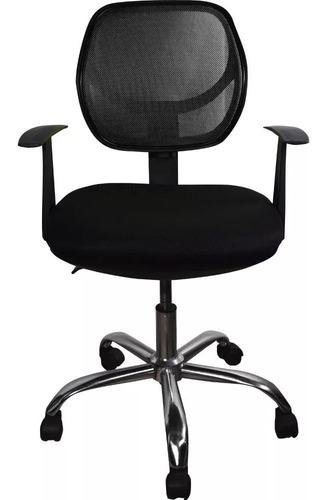 Silla oficina escritorio negra reclinable giratoria para pc
