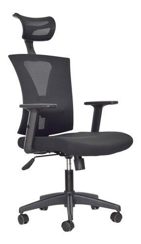 Silla presidencial negra para oficina giratoria ergonomica