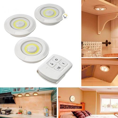 Lámpara adhesiva multiusos luces led x3 control remoto cob
