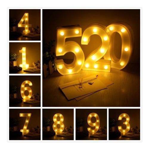 Números luz led lampara decorativa luces decoración hogar