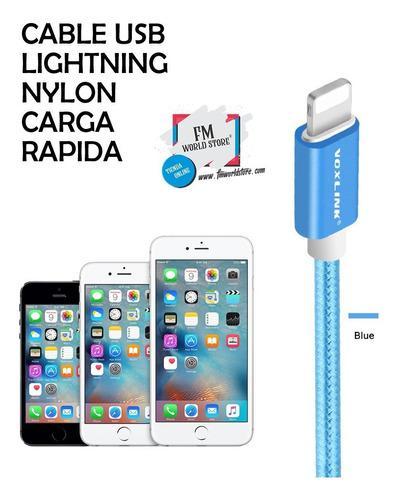 Cable lightning iphone certificado nylon carga rápida 3 mts