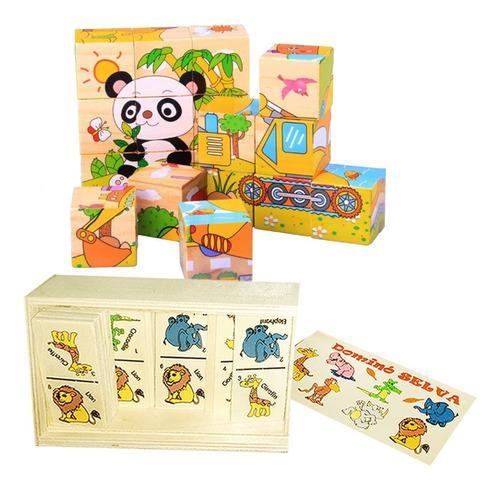 Juguete didáctico dominó niños rompecabezas cubos