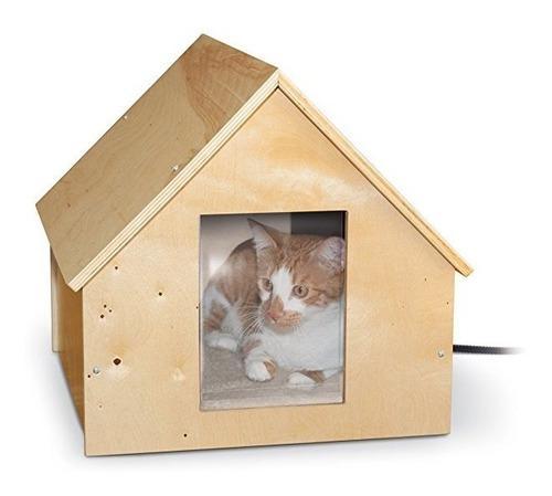 Casa para gatito hecha de madera de abedul con o sin calefac