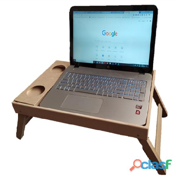 Mesa desayuno en madera grande con portavasos ideal para pc