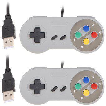 2x super nintendo snes usb gamepads controlador de familia
