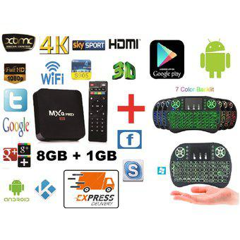 Combo tv box 4k d.d 8 gb, ram 1 gb, quad core + mini teclado