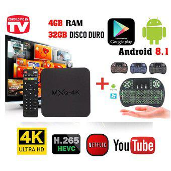 Combo tv box 4k ram 4 gb d.d 32 gb, quad core + mini teclado
