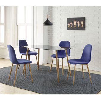 Comedor scan 4 puestos azul 120x70x75cm home collection