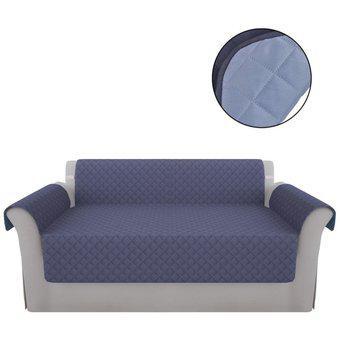 Protector sofa doble faz 2 puestos azul/gris