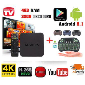 Tv box 4k d.d 32 gb, ram 4 gb, quad core + mini teclado con