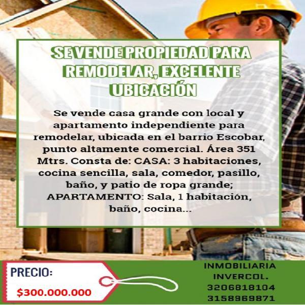 Barrio escobar se vende propiedad grande para remodelar