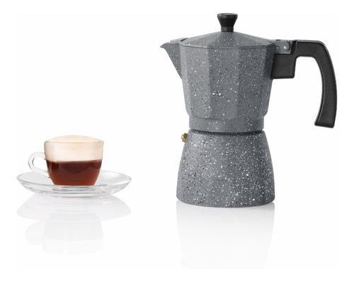 Cafetera italiana aluminio holstein gris piedra 6 tazas