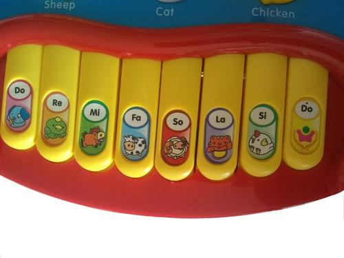 Piano musical juguete bebés animales de la granja