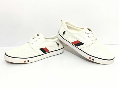 Tenis polo blancos zapatos edición especial suela en goma