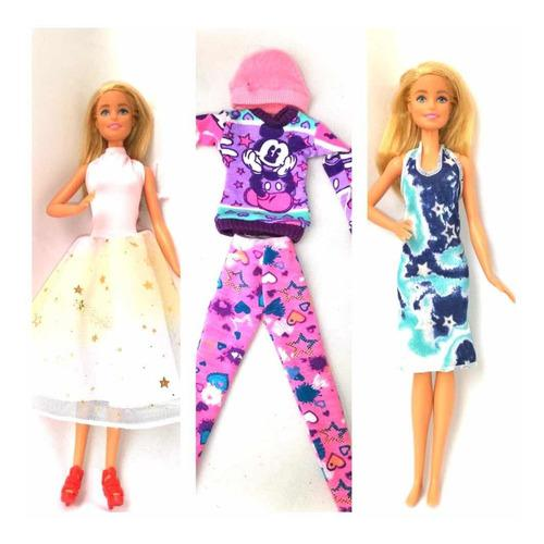 Ropa barbie 3 outfits casual, gala y de calle