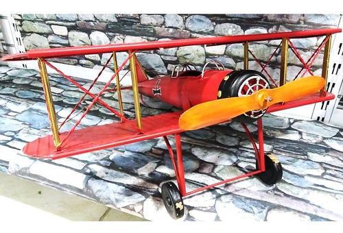 Avión Biplano Japones Decorativo Guerra Rojo 60 X 57 X 28