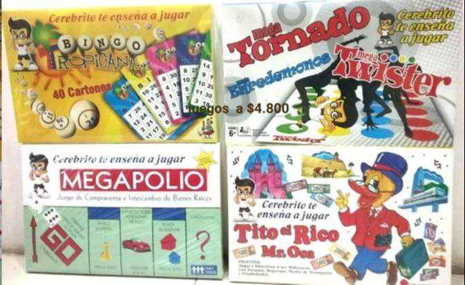 Juegos de mesa bingos, loterias megapolio twister por mayor
