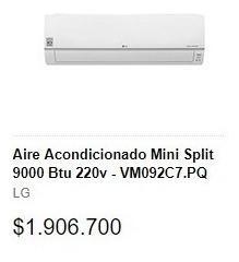 Aire acondicionado mini split lg inverter