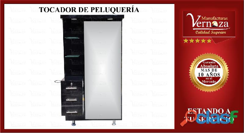 HERMOSO TOCADOR DE PELUQUERIA CON AUXILIAR EN COLOR NEGRO
