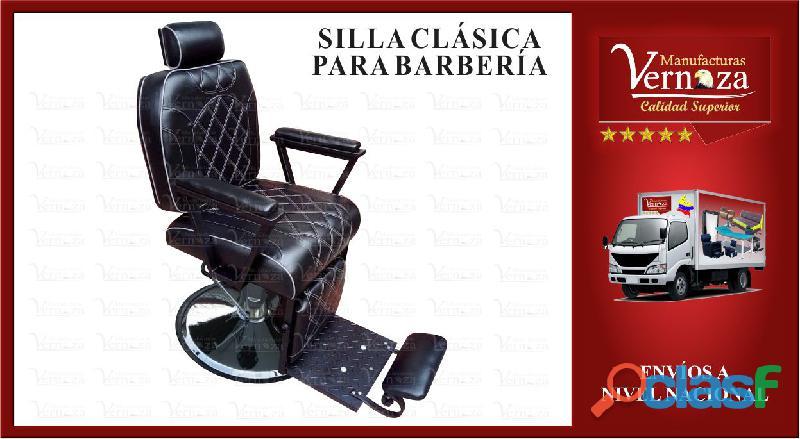 Silla de barberia reclinable base platon hidraulica