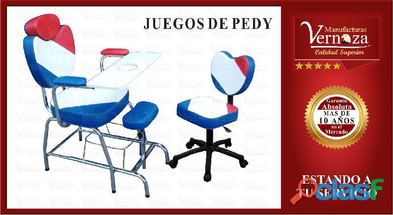 11 silla para manicura y pedicura con almohadillas en cuerotex