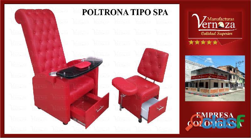 14 poltrona tipo spa para arreglo de uñas tapiz en pranna color rojo