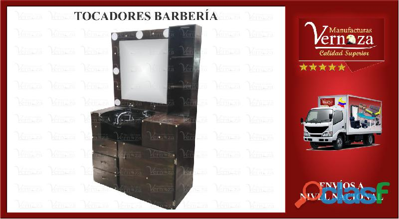 19 TOCADOR DE BARBERIA CON 5 DESLUMBRANTES BOMBILLOS
