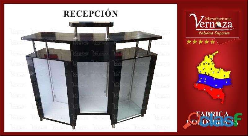 2 RECEPCION ENCHAPADA EN FORMICA DE CALIDAD CON CAJON Y BODEGAS