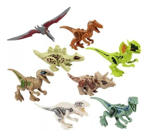 Dinosaurios juguete jurassic c/lego x4 und articulados 9 cm