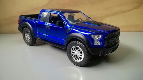 Ford raptor f-150 mod 2017 color azul escala 1:24 metalica