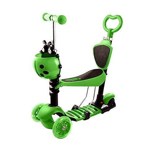 Hikole green scooter patineta 3 ruedas 5 en 1 luz led niños